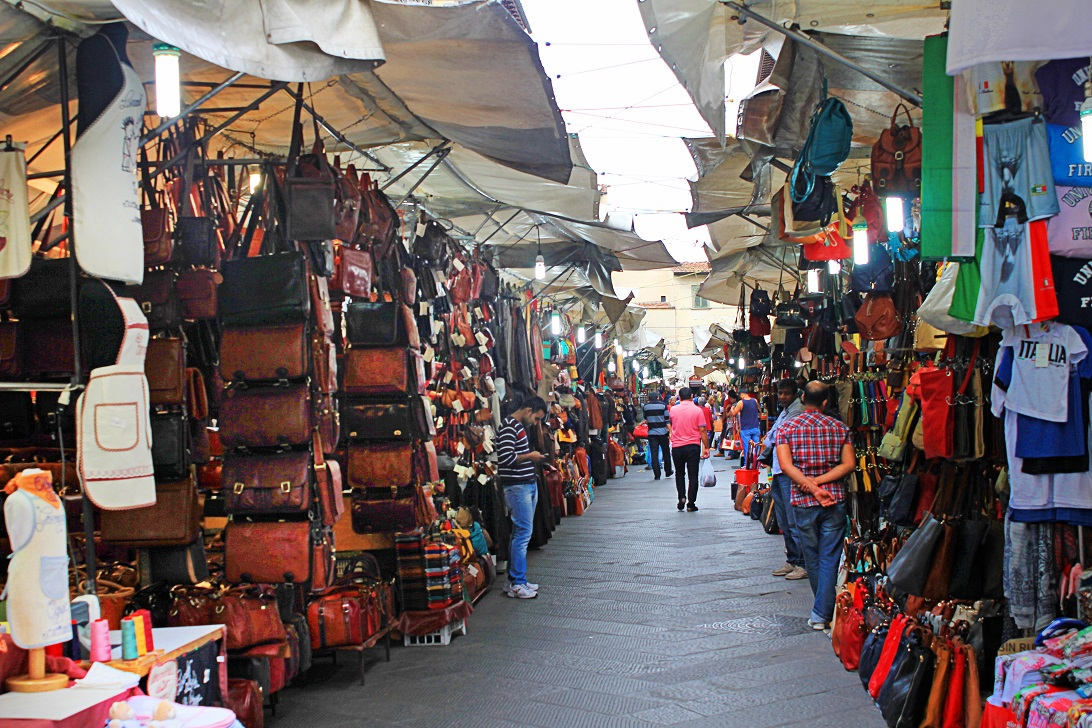 Beautiful leather goods on the street of Florence