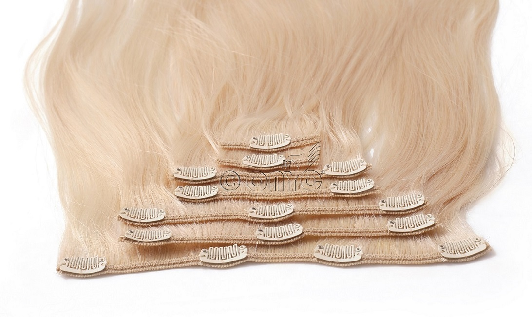 7 piece Clip in Silky Straight blond 613 Hair 2.