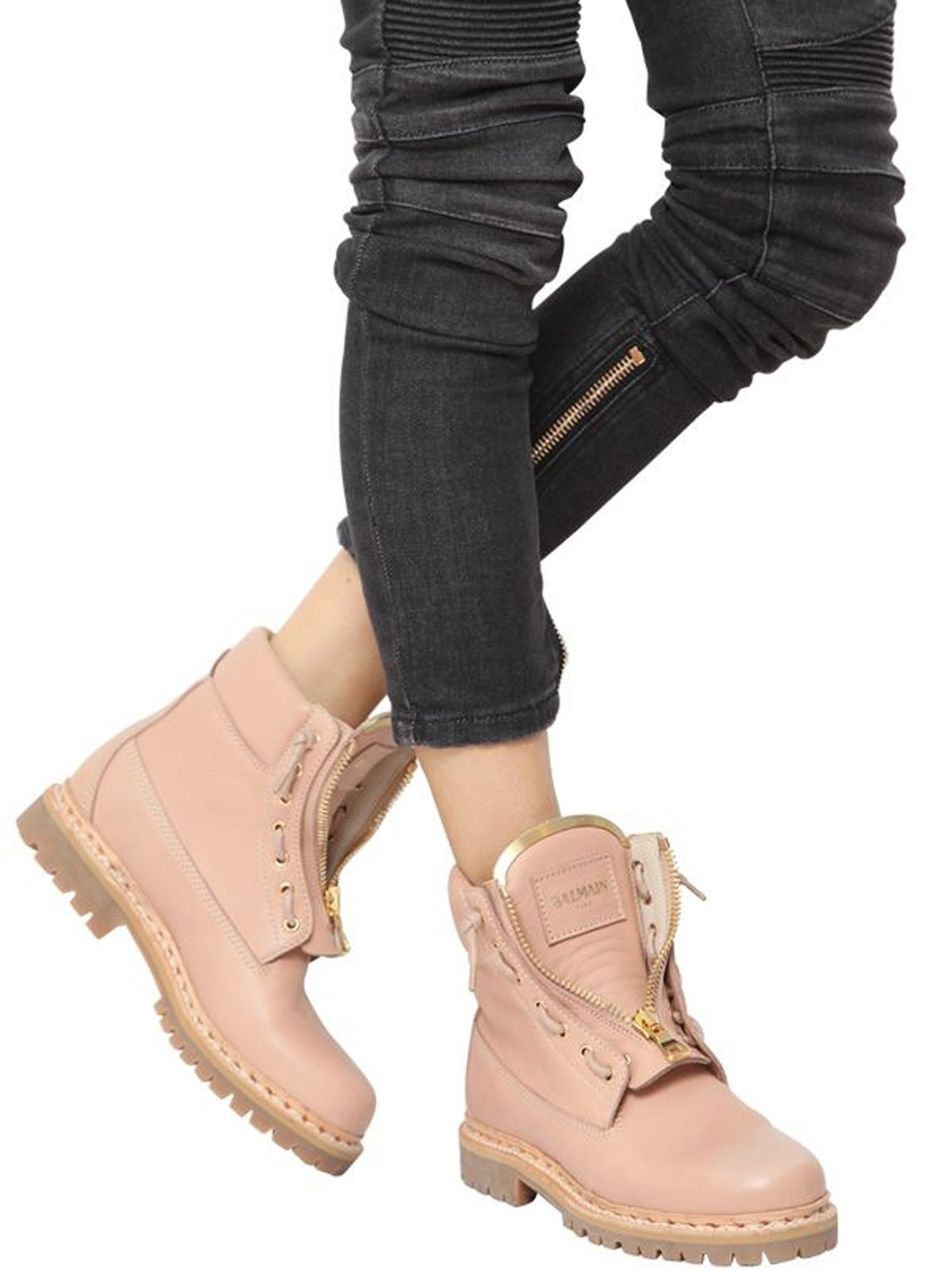 balmain nude taiga leather boots