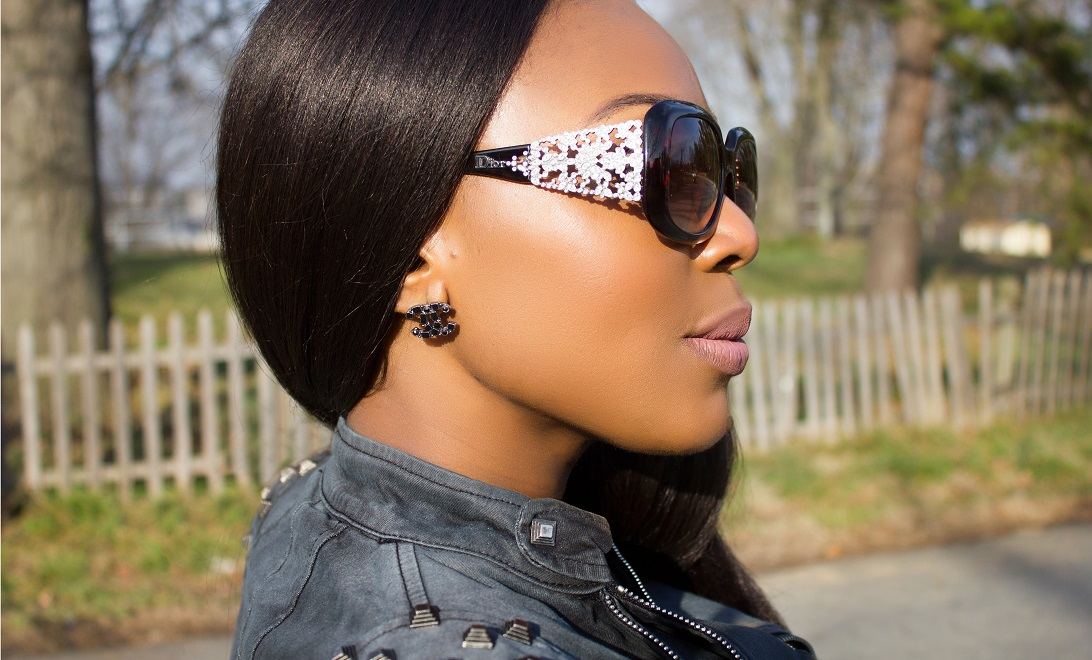 Christian Dior Sunglasses with Chanel dark stud earing