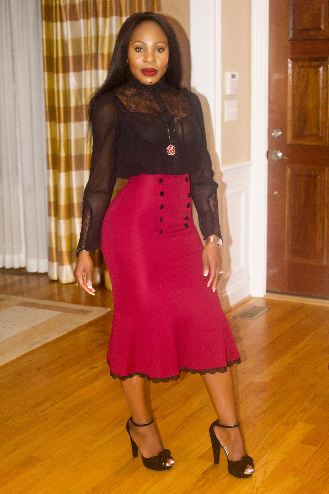 Thelma-ceo-Red-Fishtail-midi-skirt-black-sheer-top-outfit