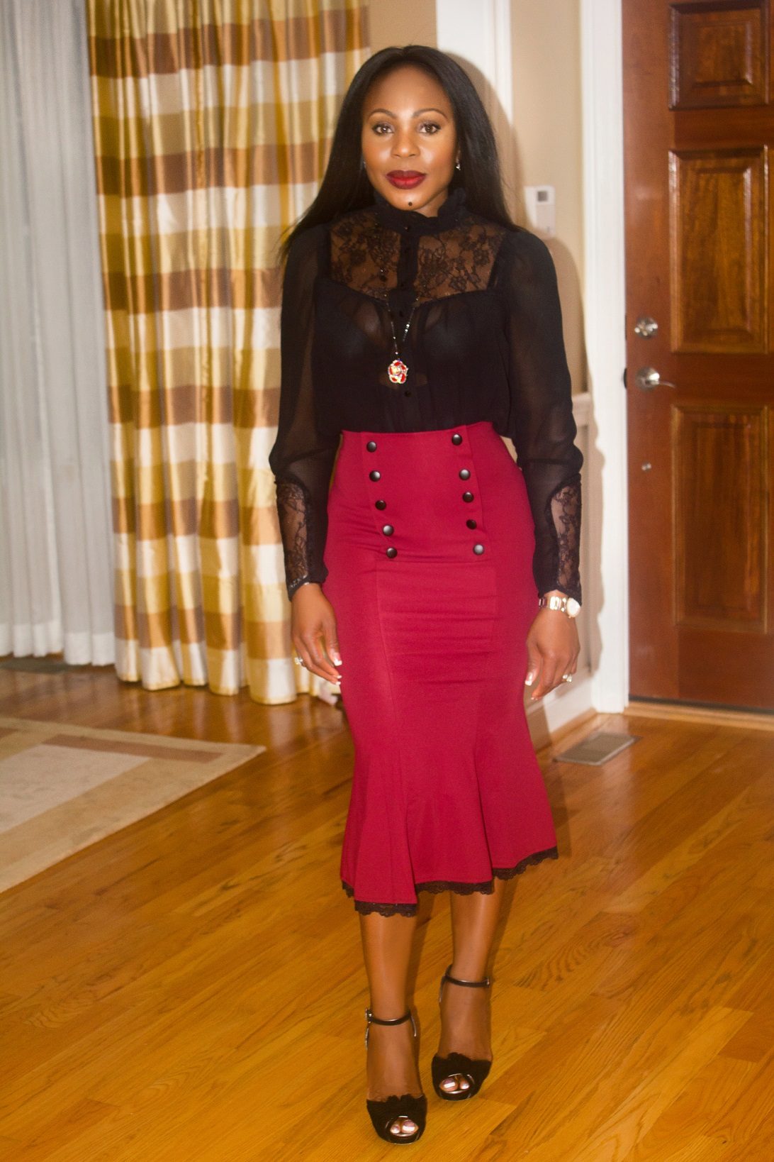 What I am wearing-Red-Fishtail-midi-skirt-with-black-sheer-top