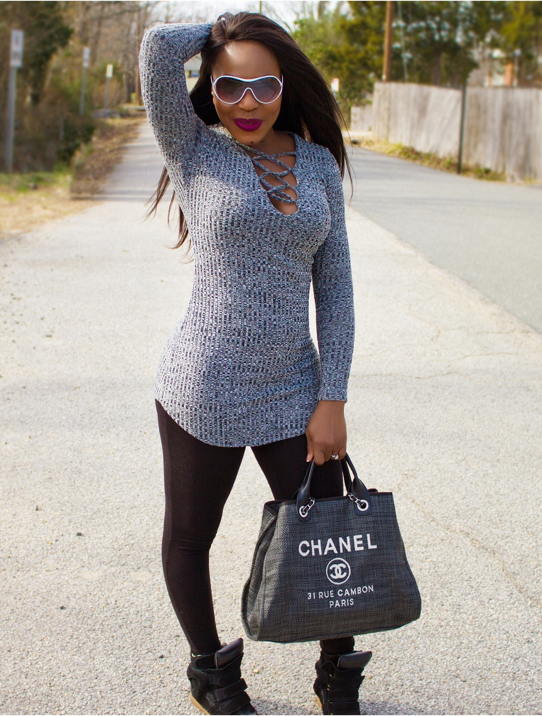 Chanel Deauville Tote Bag in grey