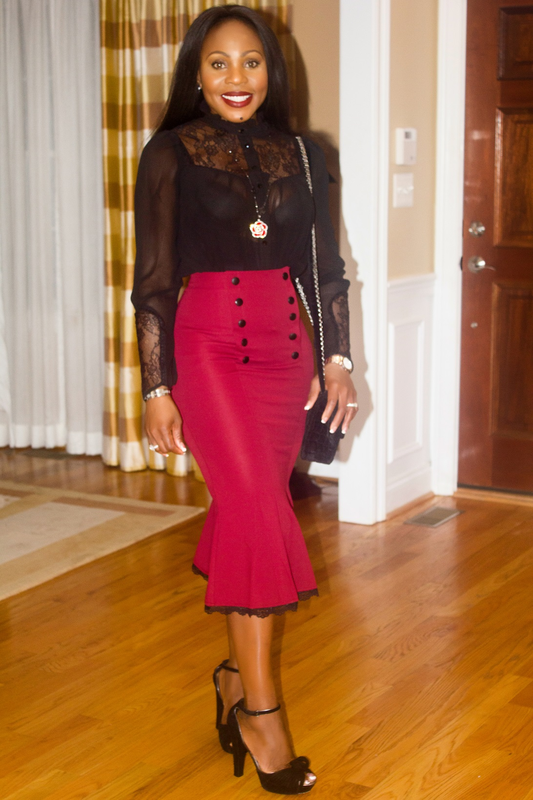 Red-Fishtail-midi-skirt-black-top-with-necklace-bag