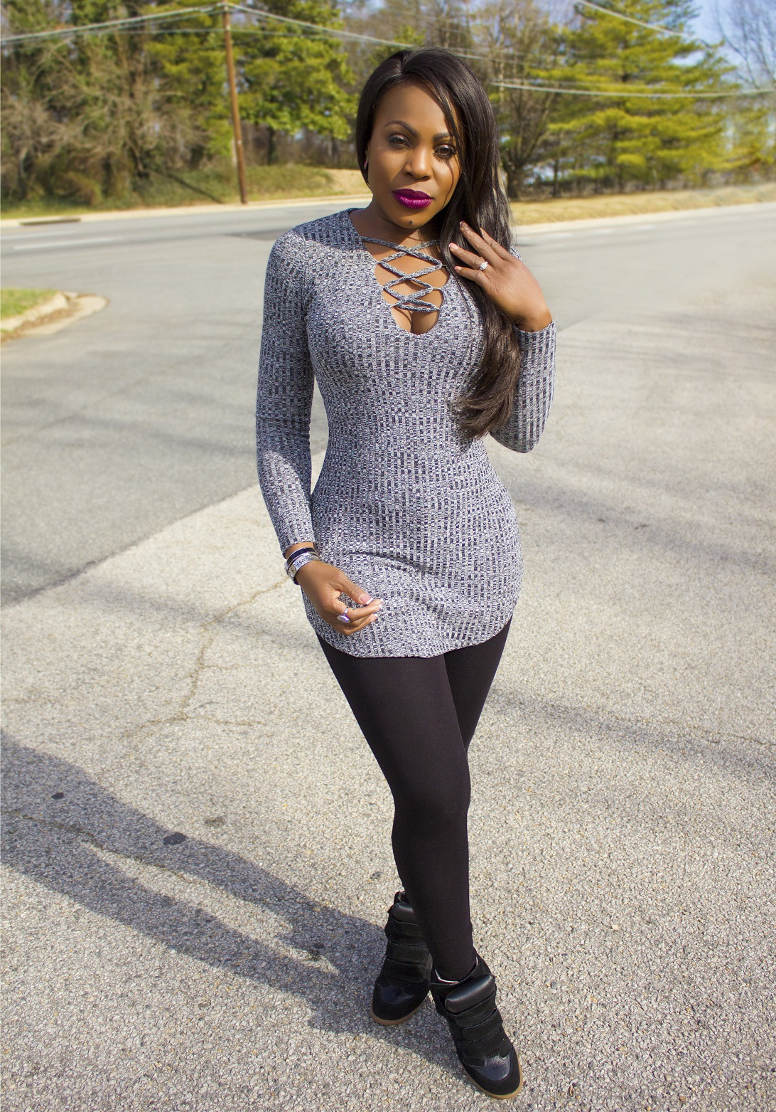 Thelma Okoro wearing top and leggings from IRA Collection